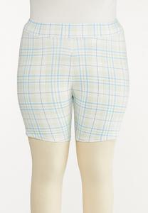 Plus Size Spring Plaid Biker Shorts