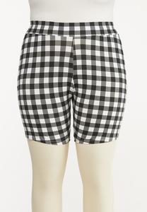 Plus Size Gingham Biker Shorts
