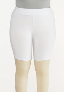 Plus Size Solid Biker Shorts