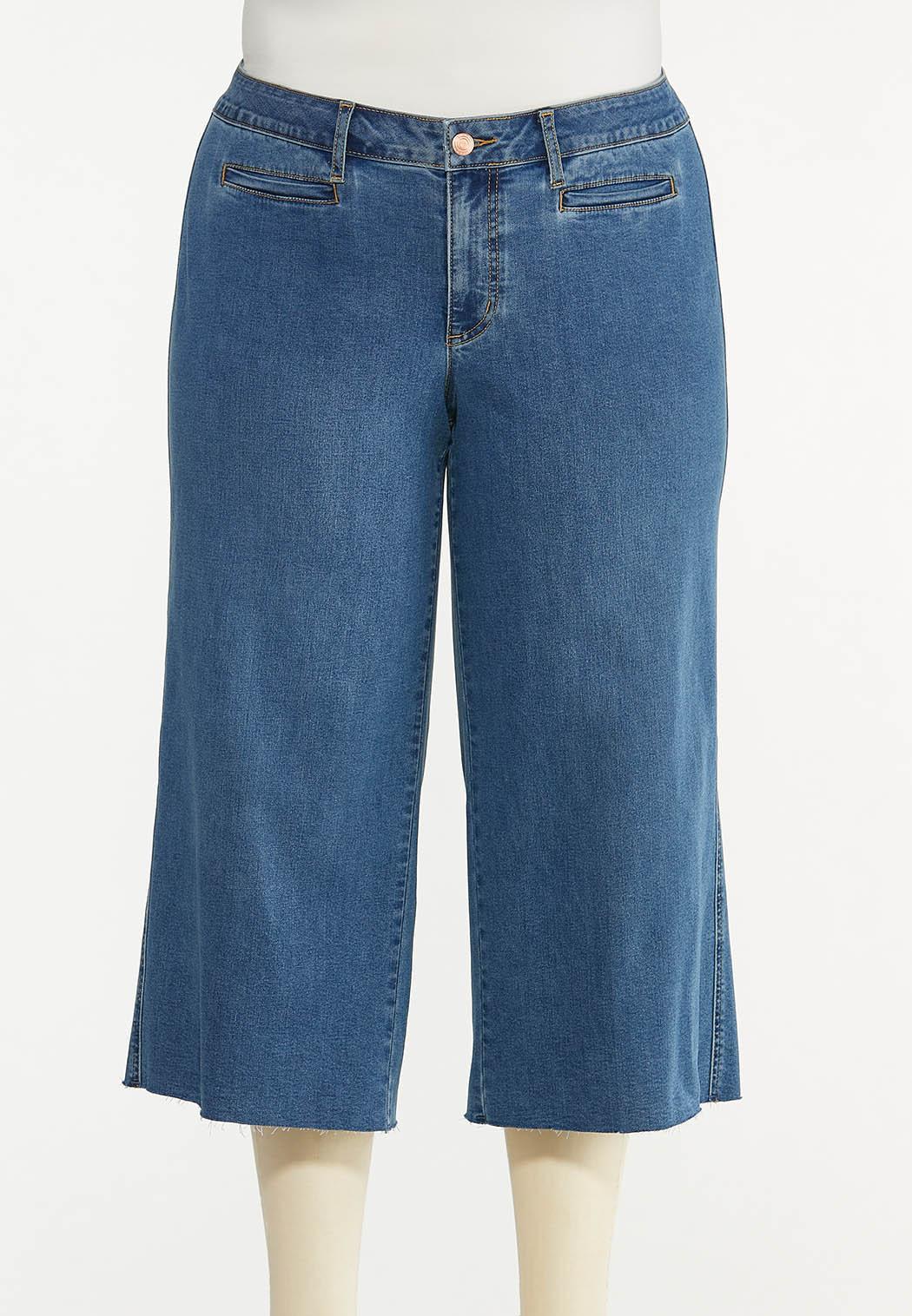 Plus Size Cropped Wide Leg Jeans