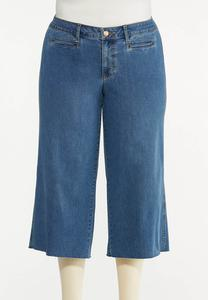 Plus Size Cropped Wide Leg Jeans