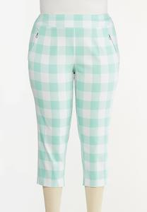 Plus Size Cropped Mint Gingham Pants