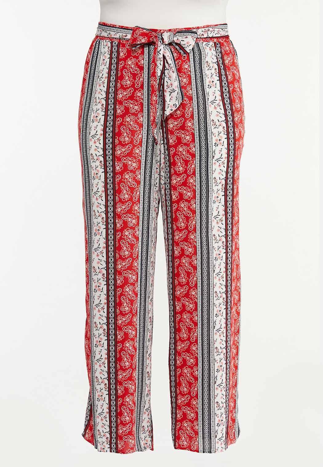 Plus Size Stripe Bandana Gauze Pants