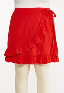 Plus Size Red Ruffled Skort
