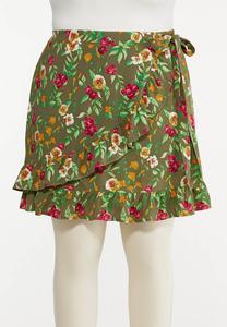 Plus Size Olive Floral Skort