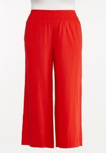 Plus Size Red Linen Pants