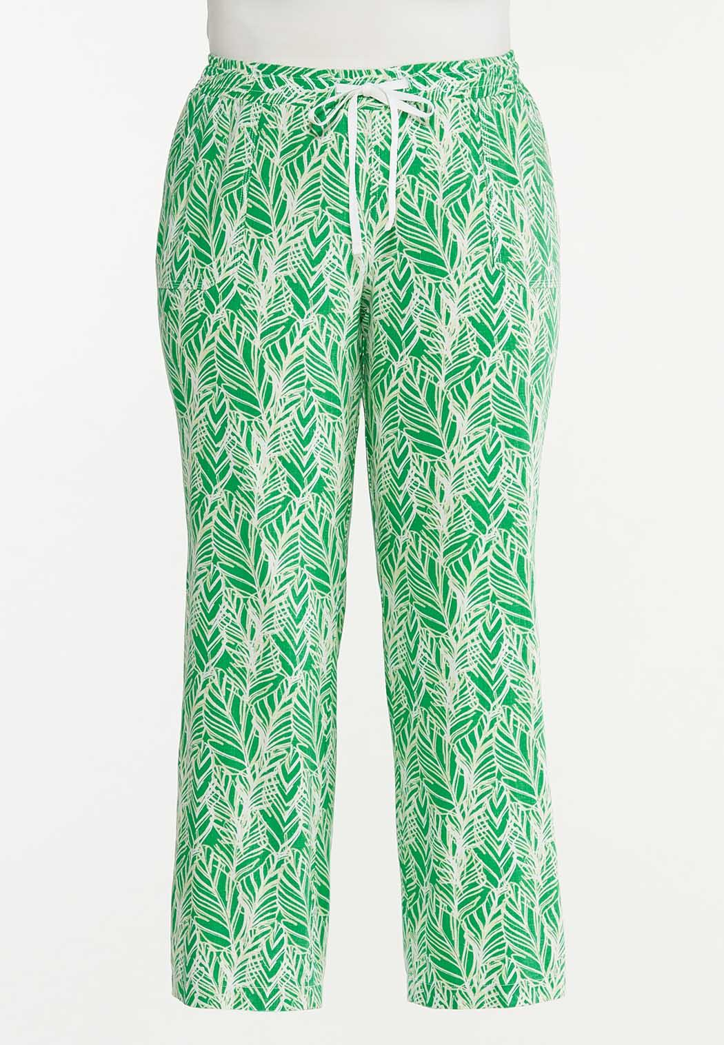 Plus Size Palm Leaf Linen Pants