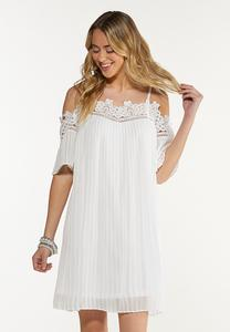 Cold Shoulder Pleated White Dress