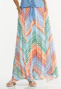 Chevron Stripe Maxi Skirt