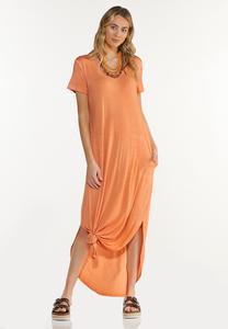 Dyed Knotted Hem Shirt Dress