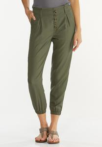 Button Front Joggers