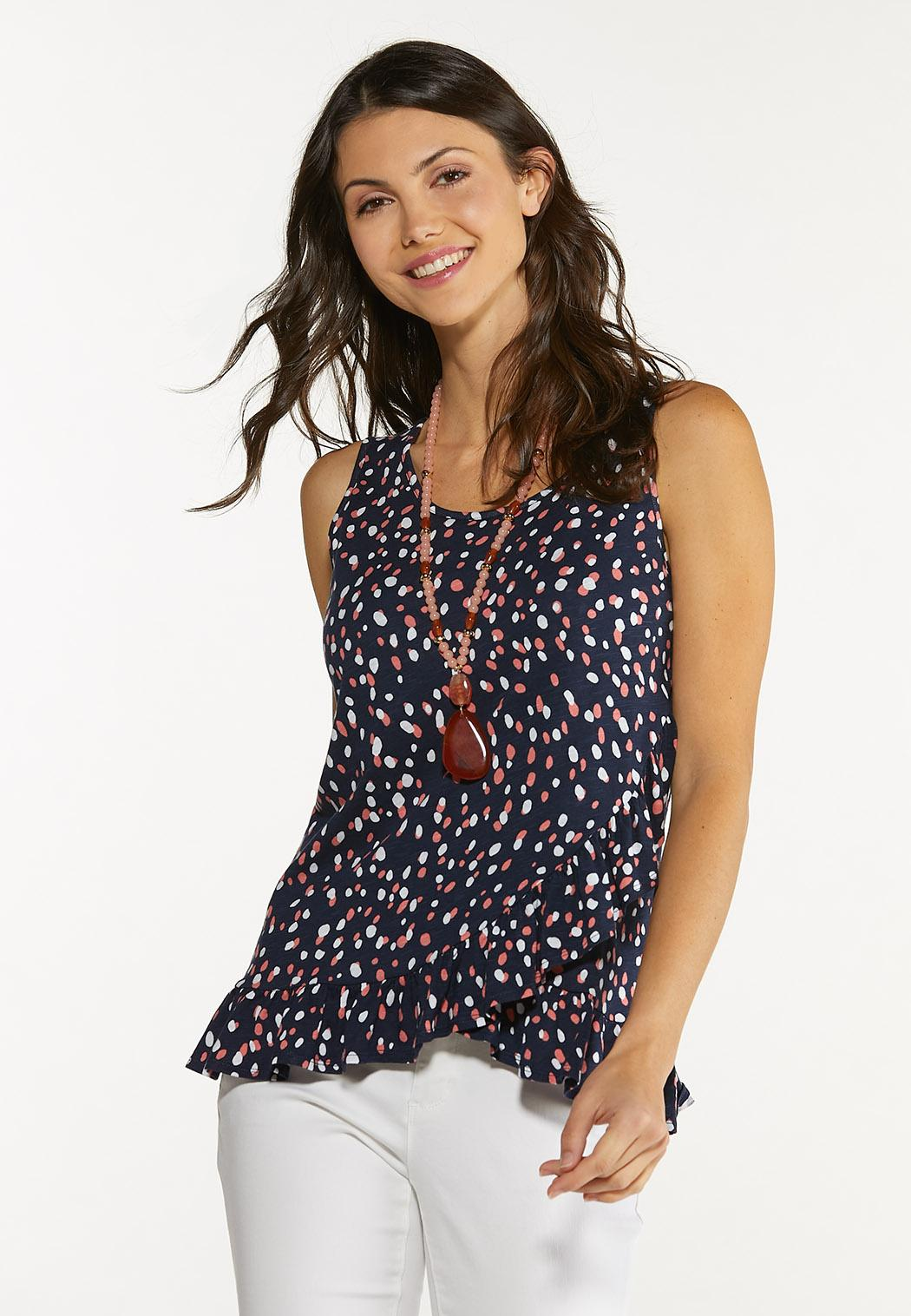 Plus Size Dotted Ruffled Tank