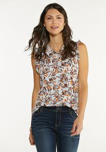 Plus Size Ruffled Floral Tank