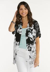Plus Size Soft Floral Kimono