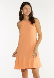 Plus Size Textured Halter Swing Dress
