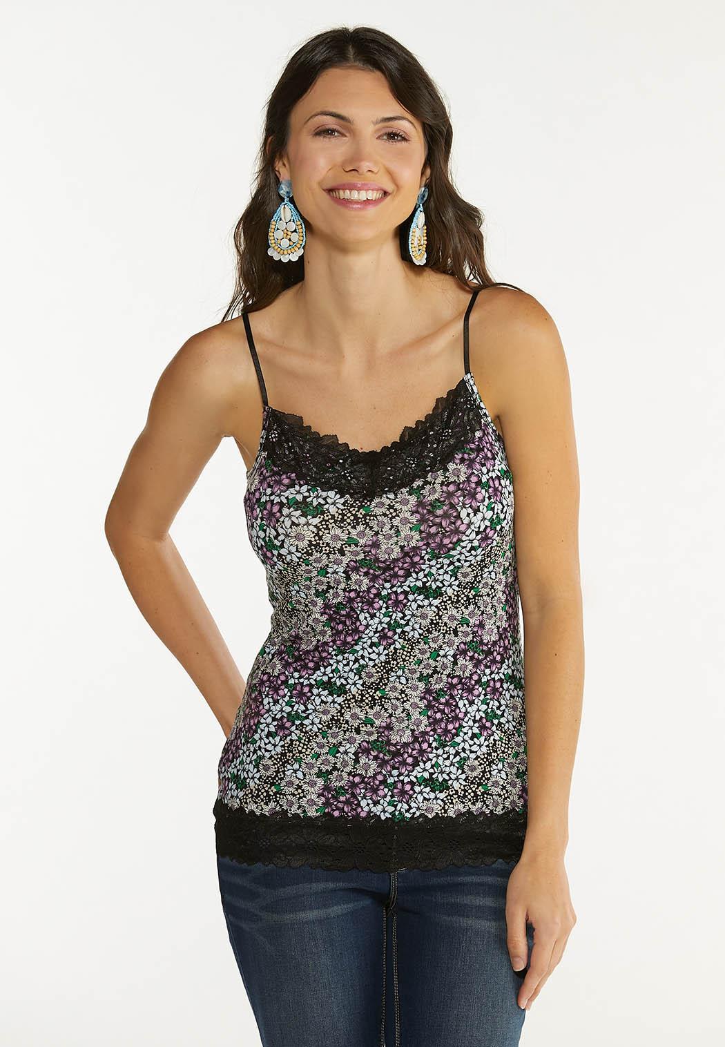 Plus Size Floral Lace Trim Cami
