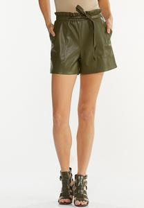 Olive Faux Leather Shorts