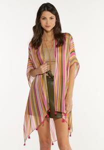 Tassel Trim Striped Kimono