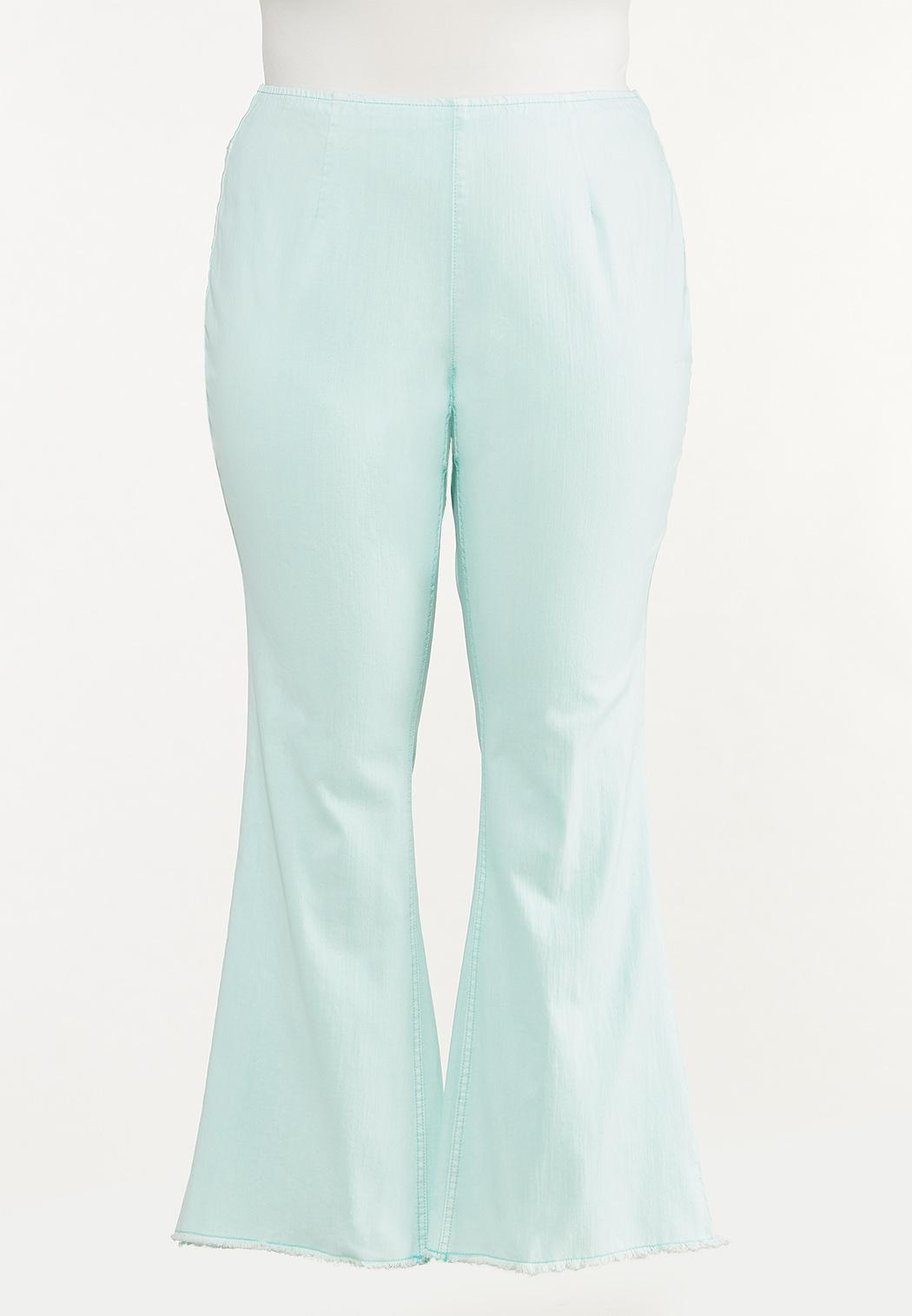 Plus Size Solid Flare Jeans