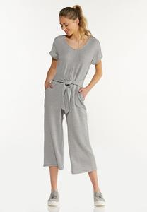Cropped Ribbed Jumpsuit