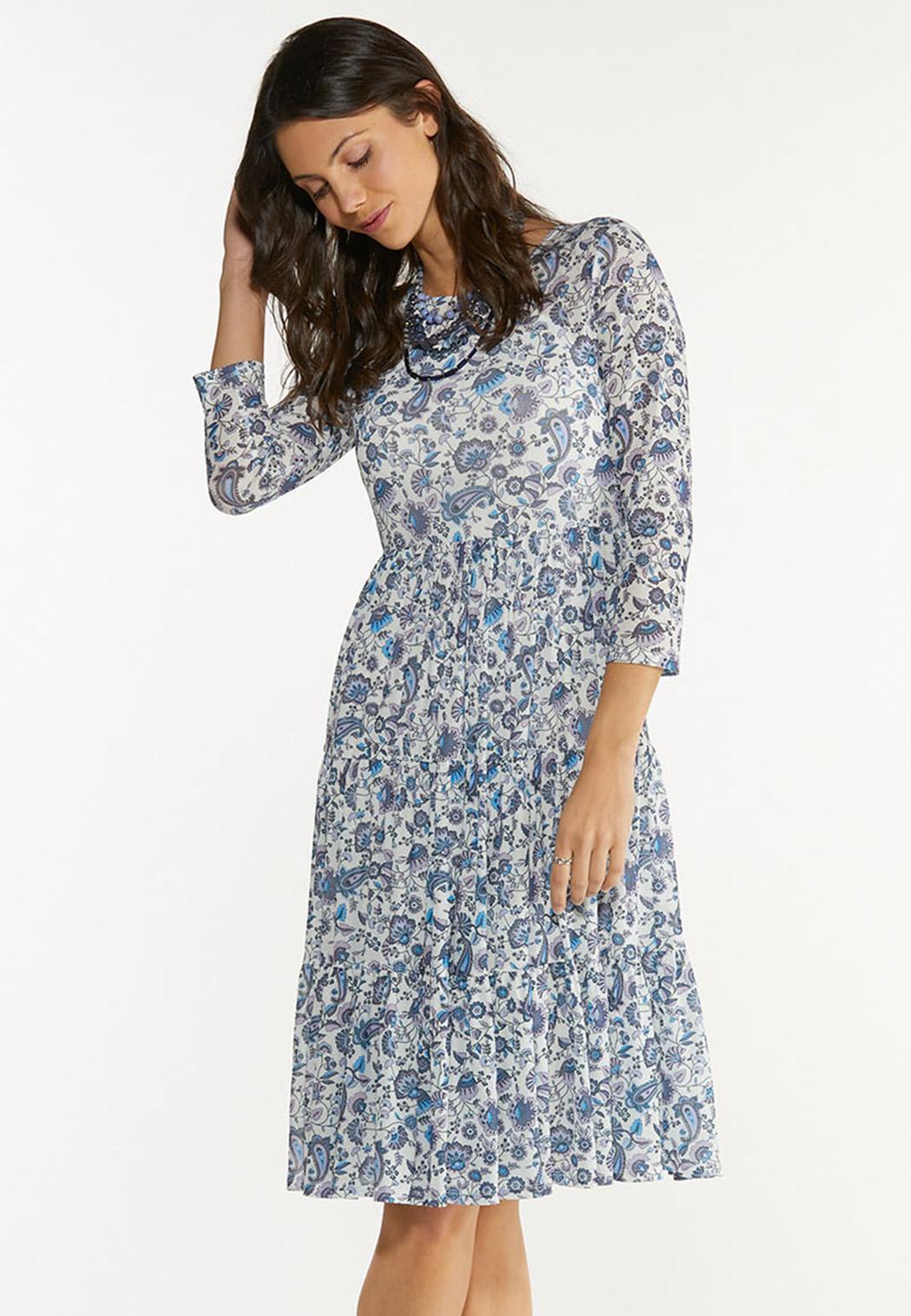 Paisley Floral Mesh Midi Dress