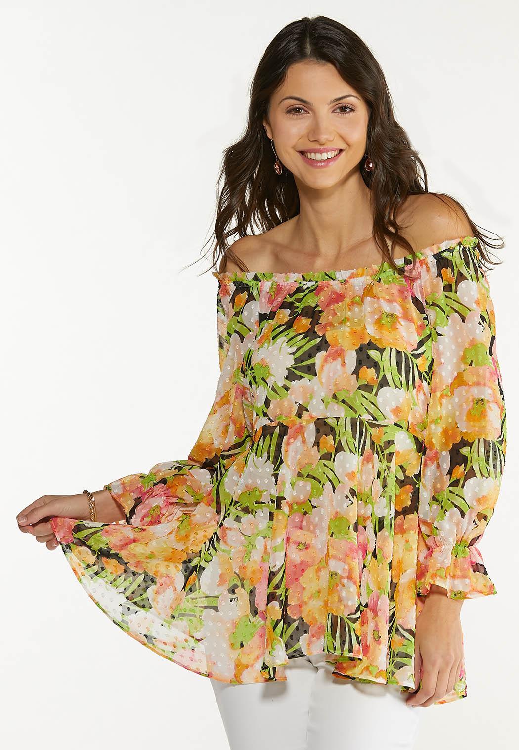 Plus Size Tropical Floral Peplum Top