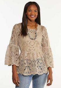 Plus Size Tan Crochet Peplum Top