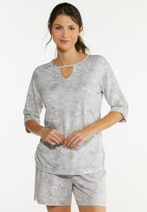 Plus Size Gray Tie Dye Top