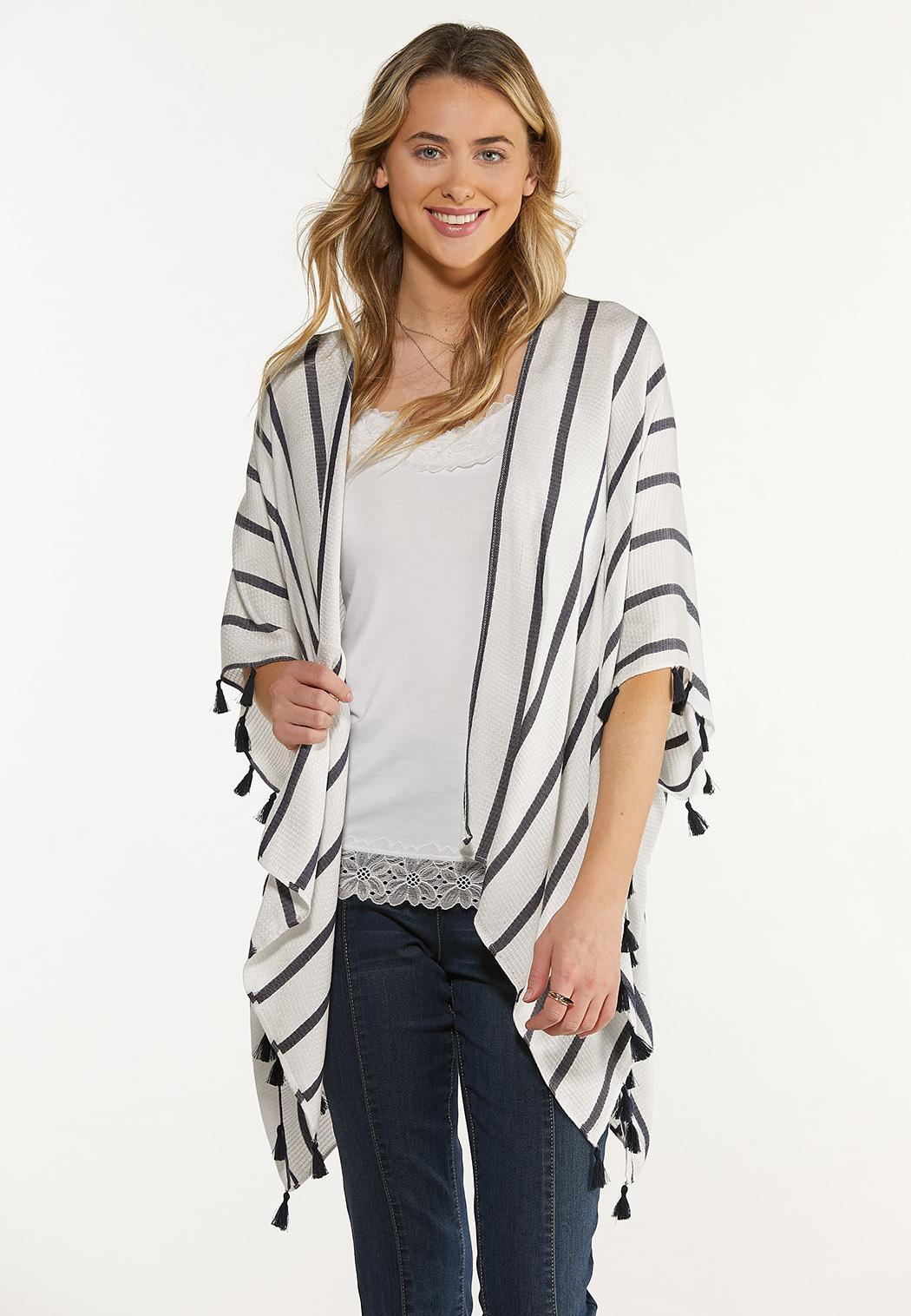 Stripe Texture Fringe Kimono