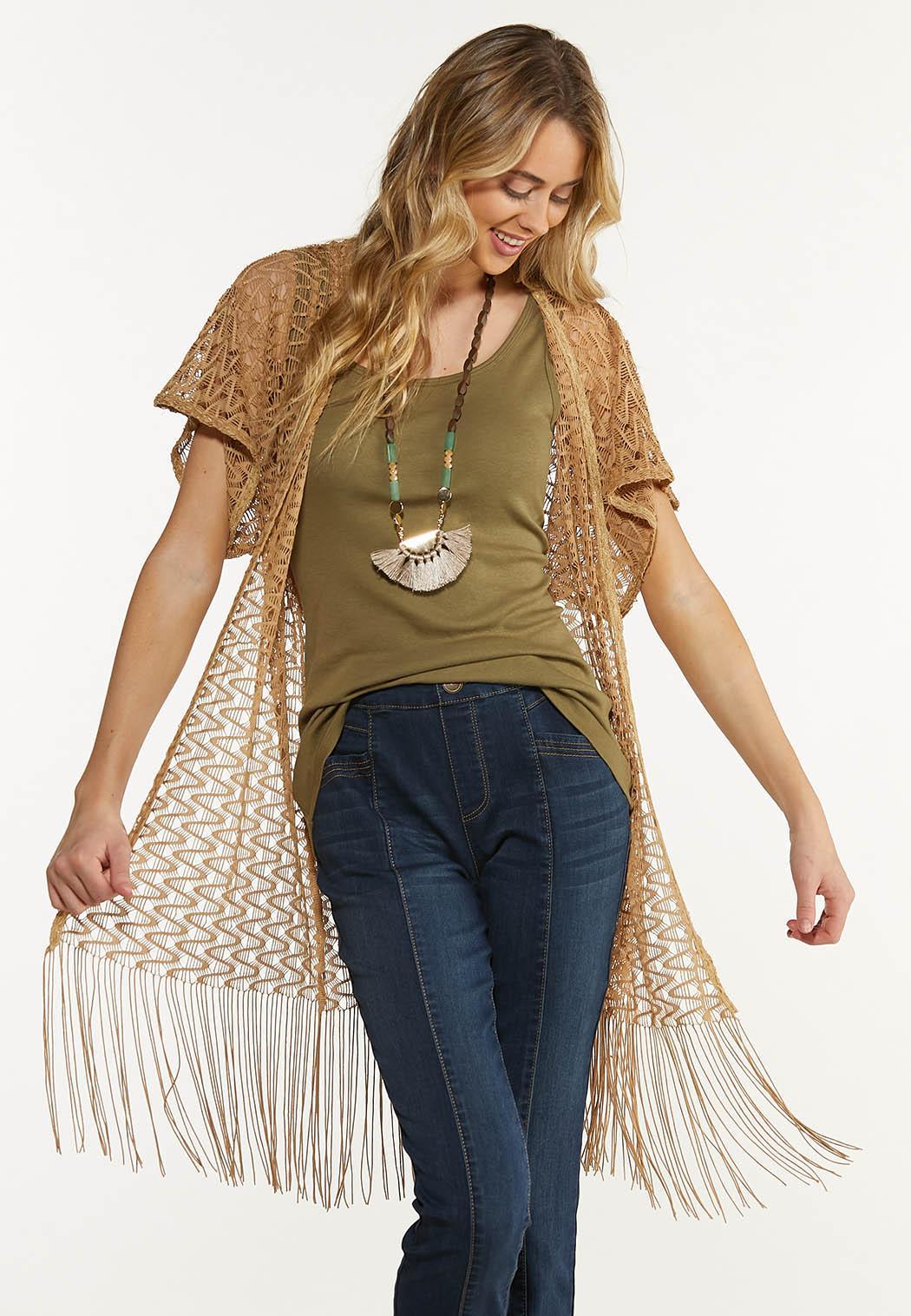 Open Weave Fringe Kimono