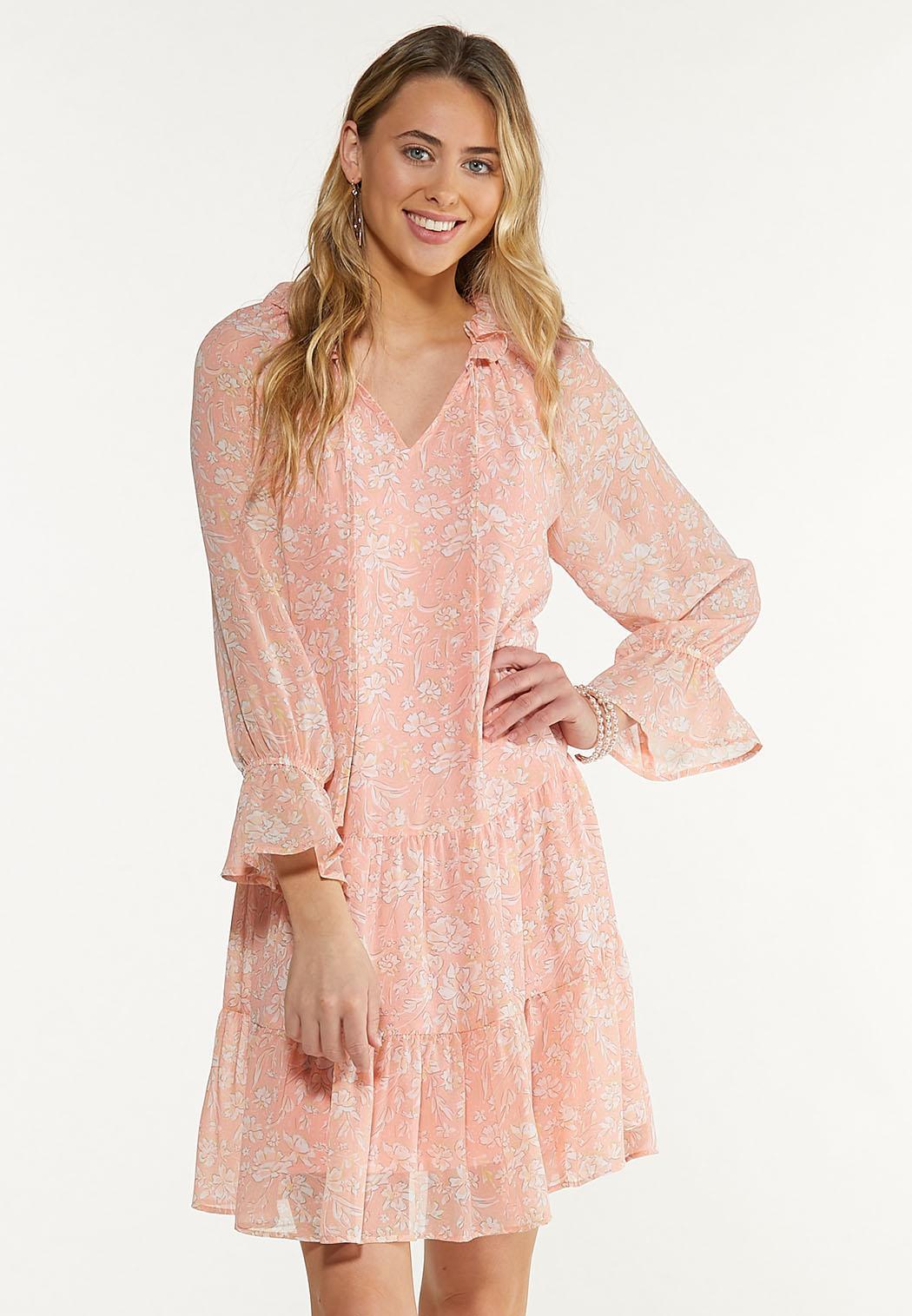 Peach Floral Babydoll Dress