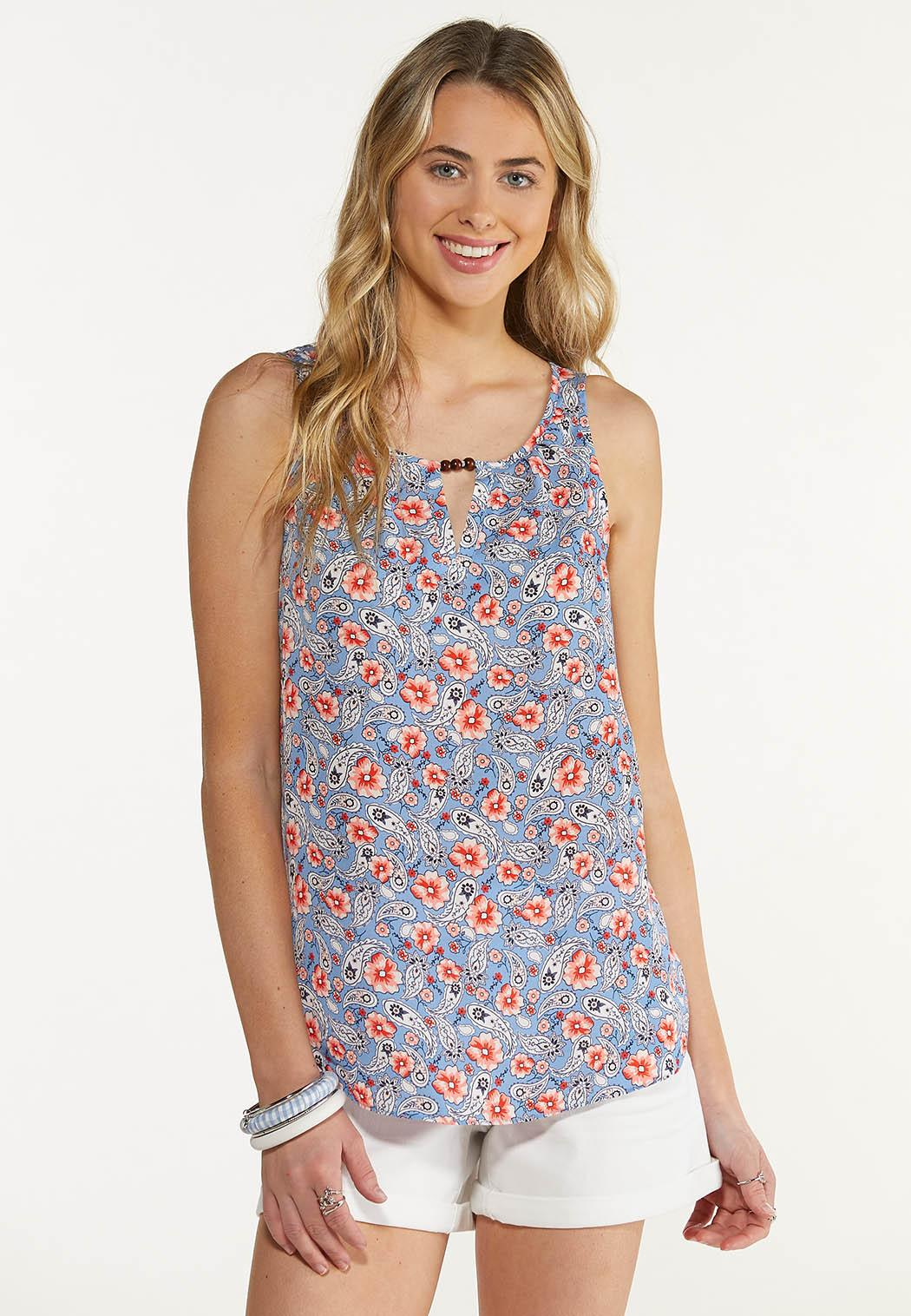 Plus Size Embellished Paisley Floral Tank
