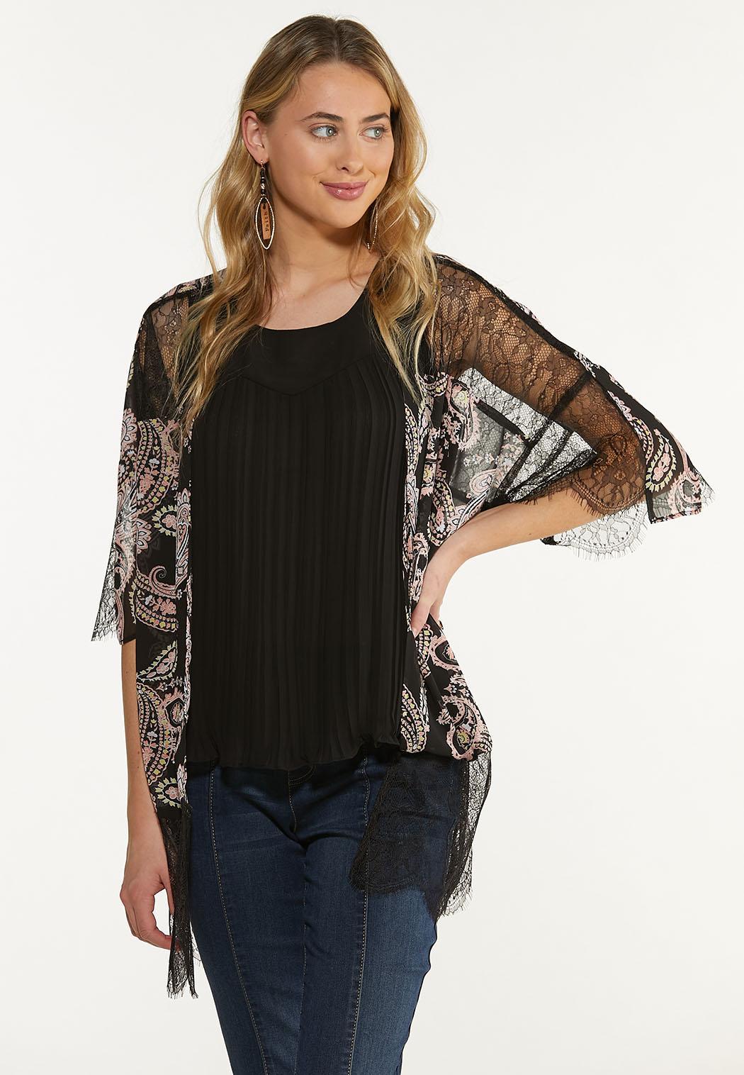 Plus Size Lacy Paisley Kimono