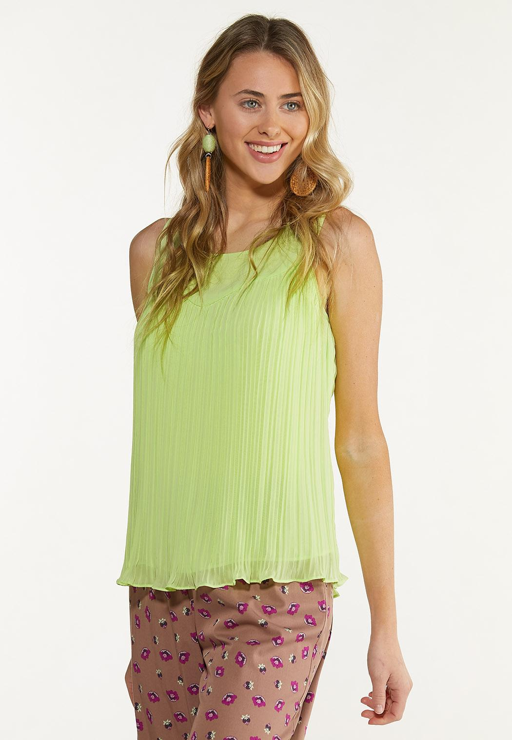 Plus Size Solid Pleated Tank