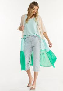 Plus Size Tiered Colorblock Kimono