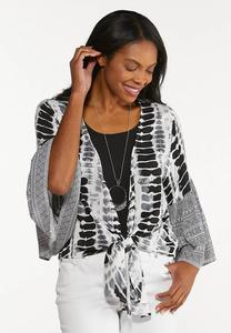 Plus Size Mixed Print Tie Front Top