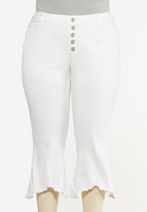 Plus Size Cropped White Frayed Jeans