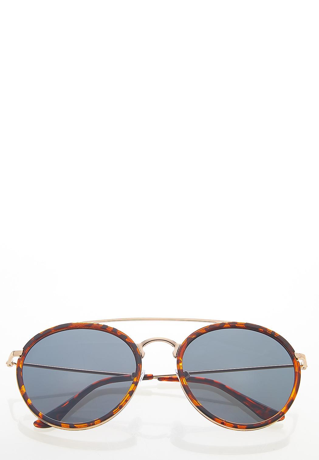Tort Trim Round Sunglasses