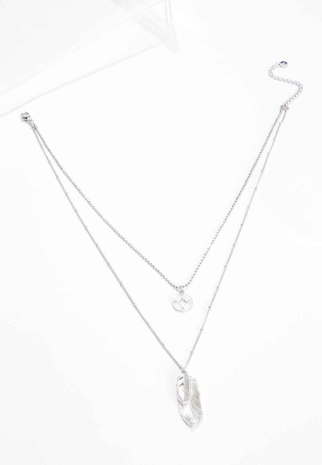 Layered Feather Compass Necklace