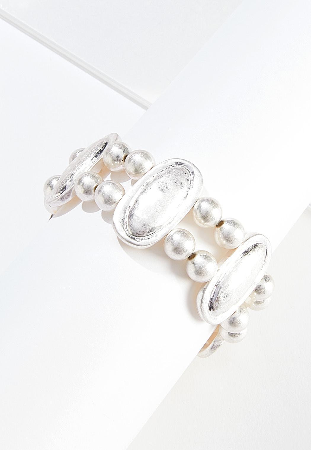 Double Row Silver Stretch Bracelet