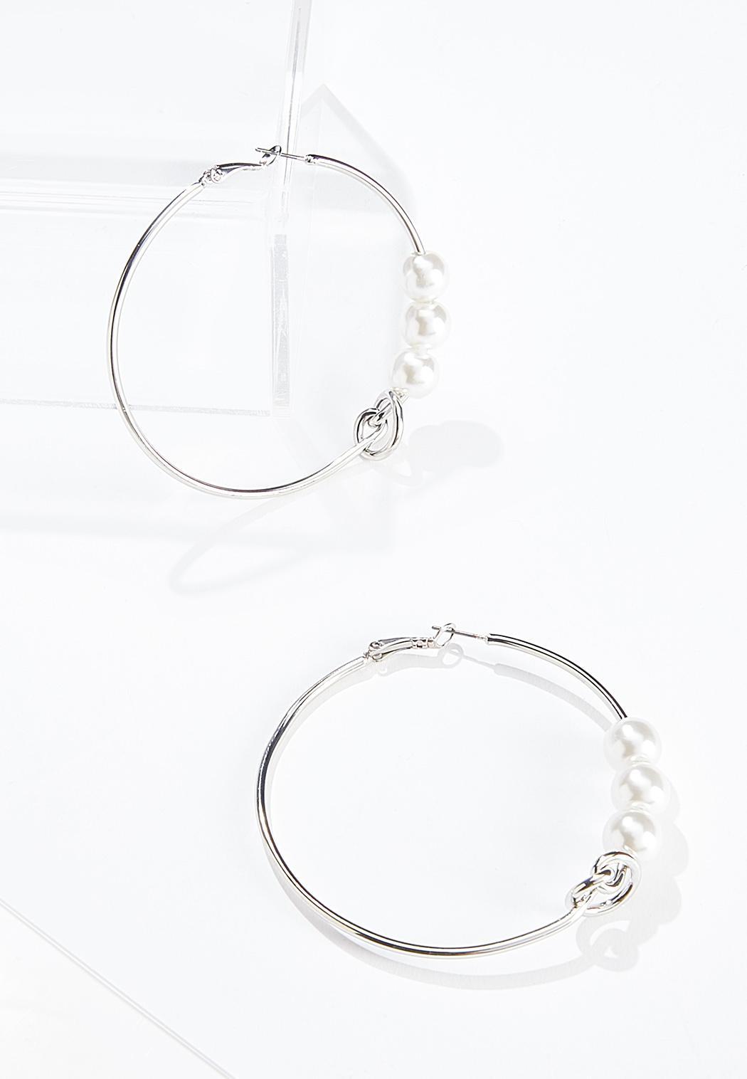 Pearl Knot Hoop Earrings