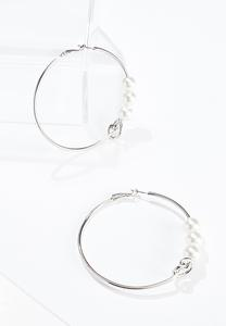 Pearl Knot Hoop Earrings