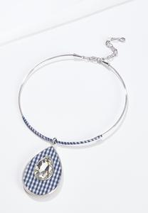 Wire Gingham Pendant Necklace