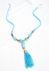 Tasseled Stone Bead Necklace