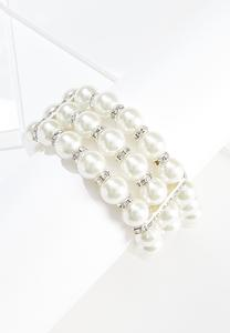 Pearl Rhinestone Stretch Bracelet