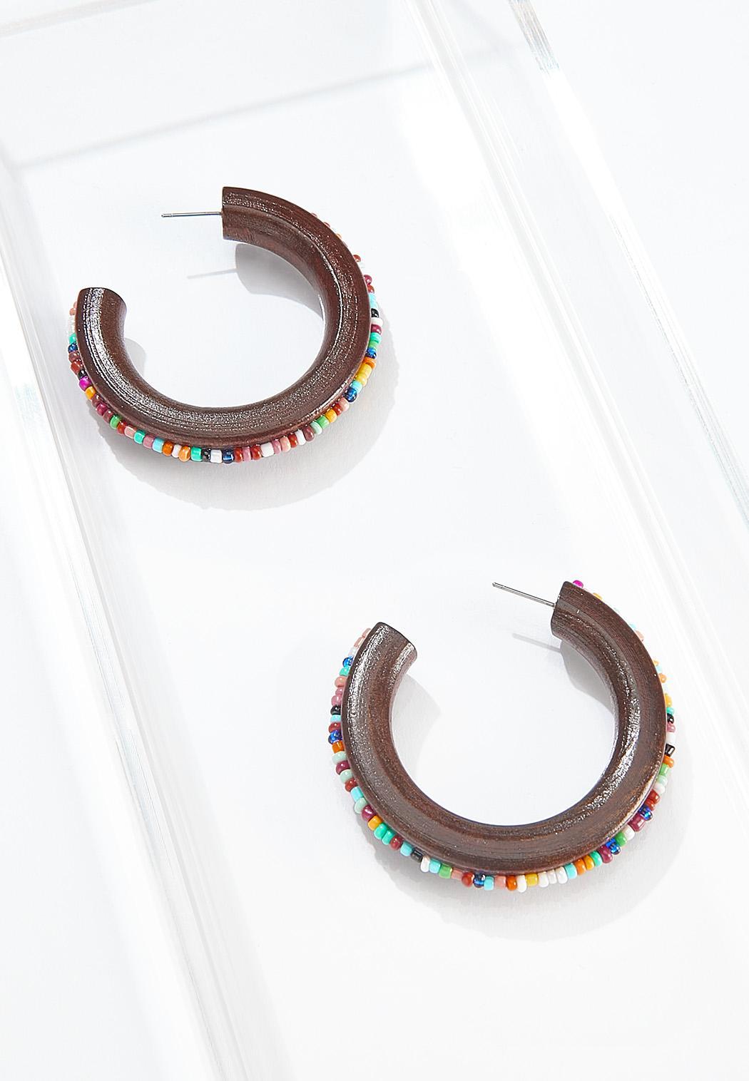 Seed Bead Wood Hoop Earrings