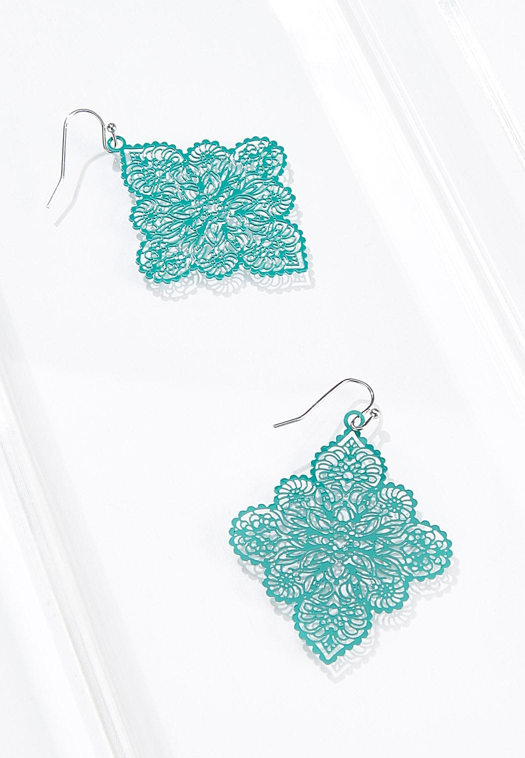 Filigree Enamel Diamond Earrings