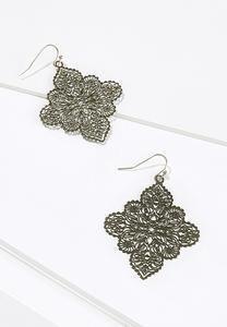 Olive Filigree Enamel Earrings