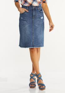 Distressed Frayed Denim Skirt