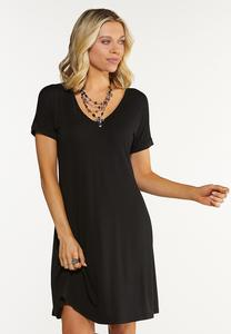 Solid Shirt Swing Dress